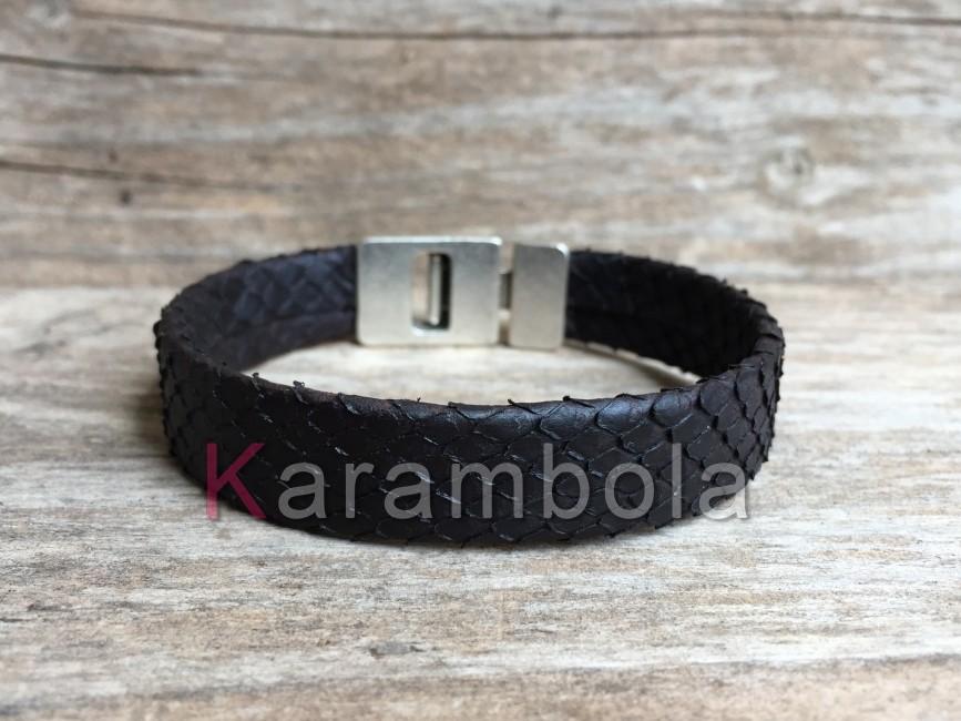 Handmade mens leather bracelets black genuine Phyton snakeskin