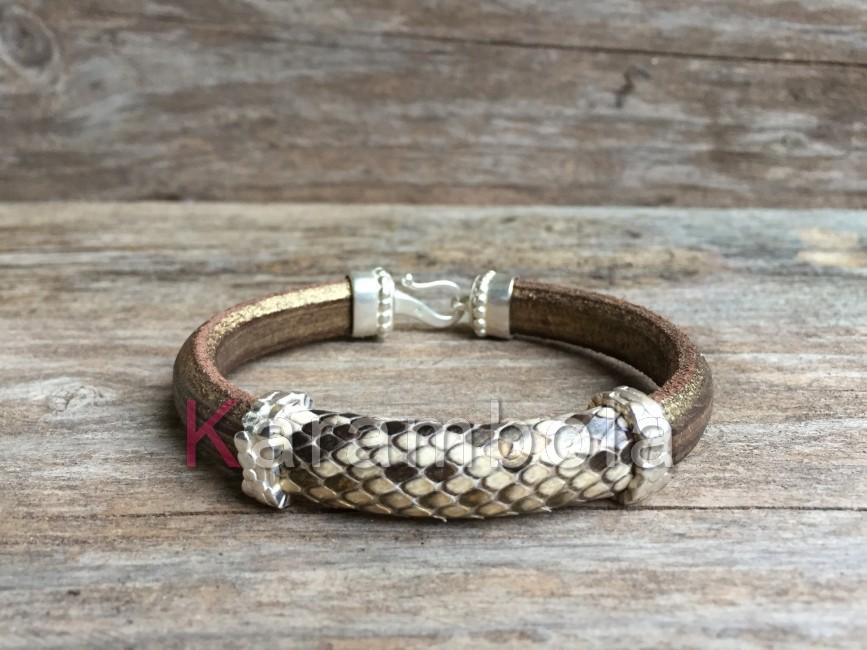 Handmade women jewelry bracelets cuff plating golden beige snakeskin