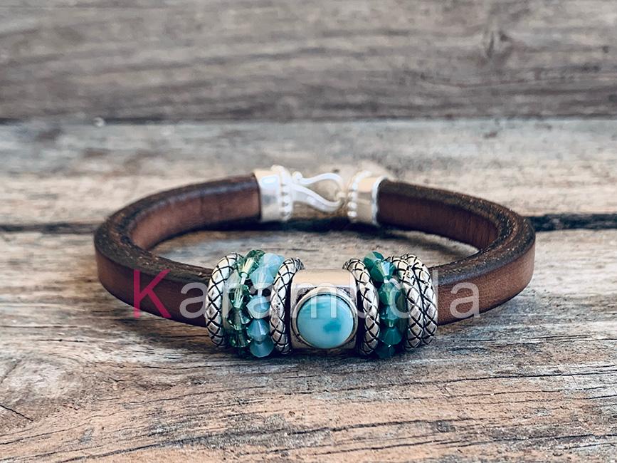 Handmade women jewelry bracelets cuff brown turquoise boho style