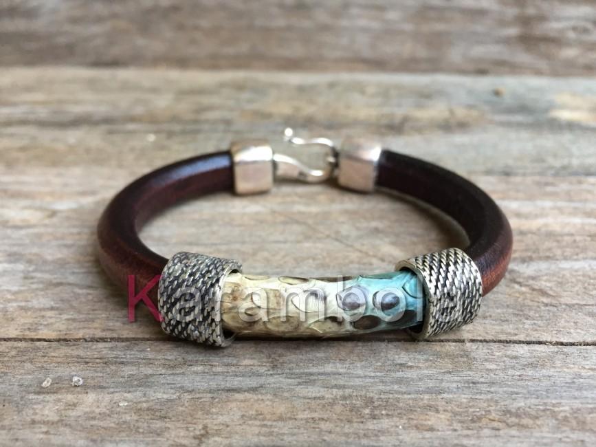 Handmade women jewelry bracelets brown cuff turquoise snakeskin