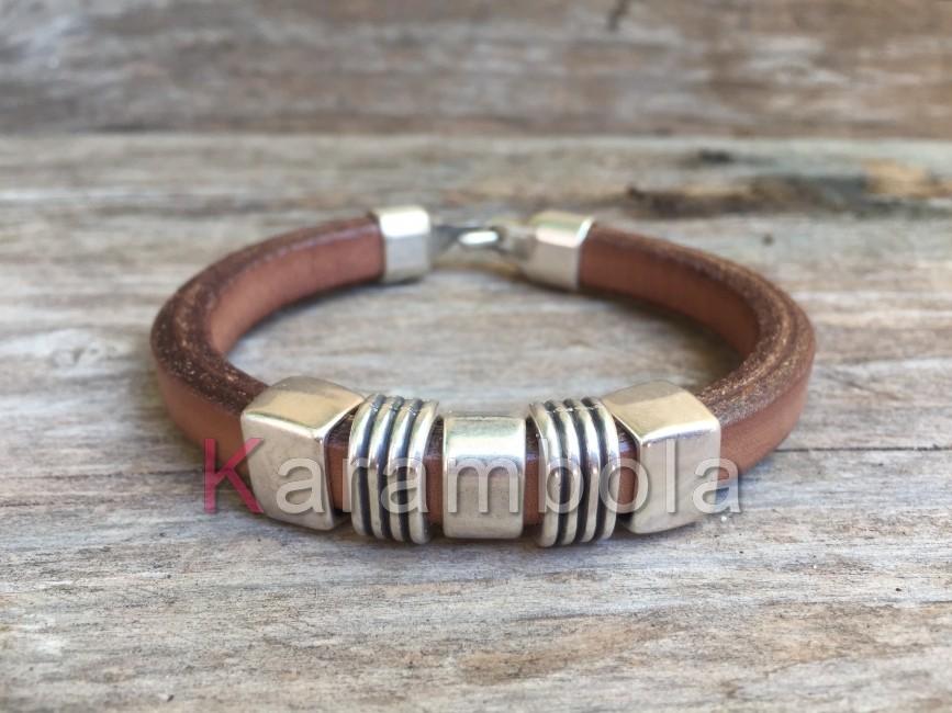 Handmade mens leather bracelet brown plated striped zamak