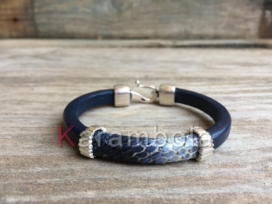 Handmade women jewelry bracelets cuff plating blue snakeskin jewellery
