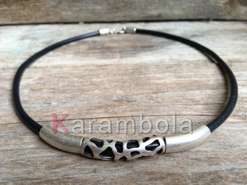Handmade black leather necklace for men with plated carved zamak tubes