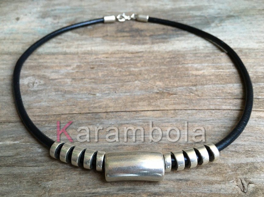 Handmade black leather necklace for men with plated silver zamak tubes