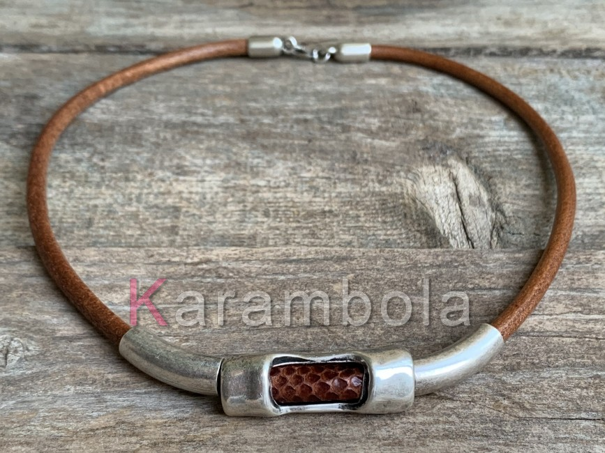 Handmade brown leather necklace for men with zamak tubes and snakeskin
