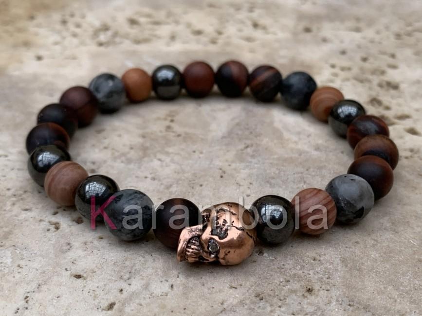 Natural Stone handmade Jewelry men´s skull Red Jasper bracelet
