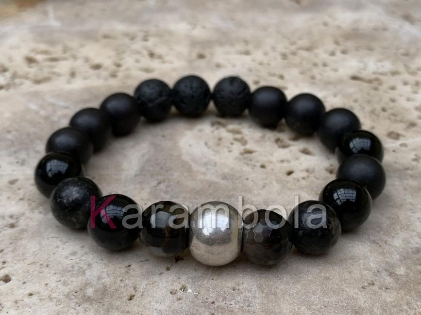 Natural Stone handmade bracelet men woman agate grey black jewelry
