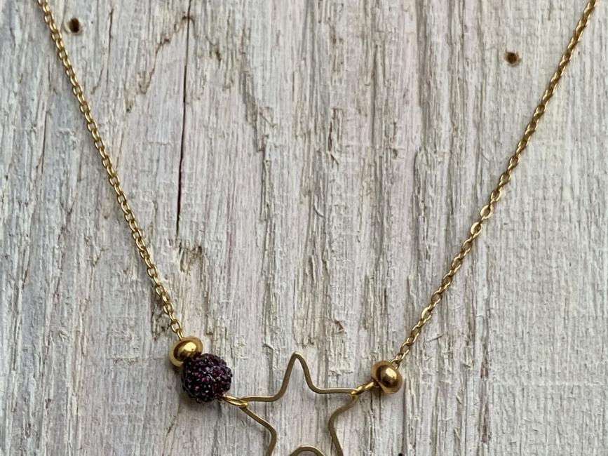 Affordable minimalist jewelry handmade chocker necklace golden star