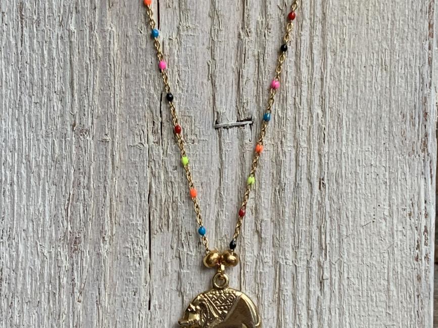 Affordable minimalist jewelry handmade pendant necklace gold elephant