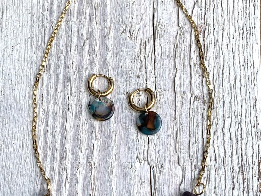 Minimalist handmade jewelry chocker earrings earth tones set